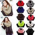 Unisex Women Knit Winter Warm Cowl Neck Warmer 2 Circle Scarf Shawl Wrap