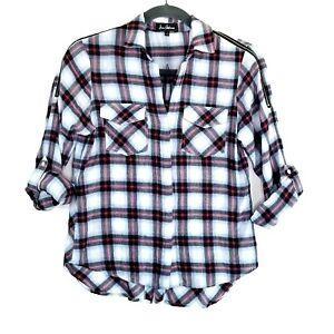 Sam-Edelman-Womens-Cold-Shoulder-Zipper-Plaid-Shirt-Size-Large-Rolltab-Sleeves