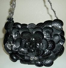 Brighton Roselie Small Black Croco Croco Leather Petal Flowers Purse Handbag Bag