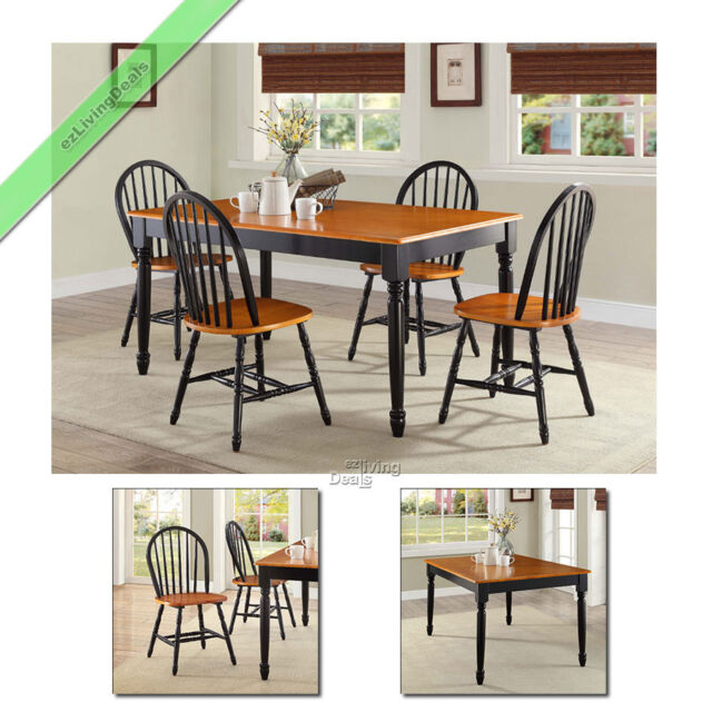 Farmhouse Dining Room Set 5 Pc Table 4 Chairs Wood Country Kitchen, Black &  Oak
