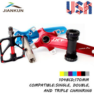 Crankset-104BCD-170mm-Crank-9-16in-MTB-Bike-3-Bearings-Pedals-Chainring-Sprocket