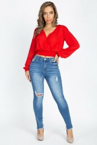 Women-039-s-Red-Wrap-Crop-Top-L