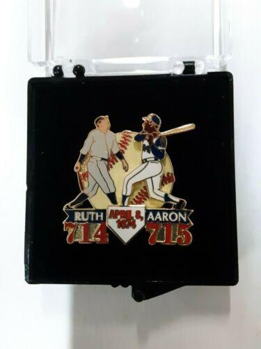 Babe Ruth 714 Hank Aaron 715 Vintage Home Run Record Commemorative Lapel Pin