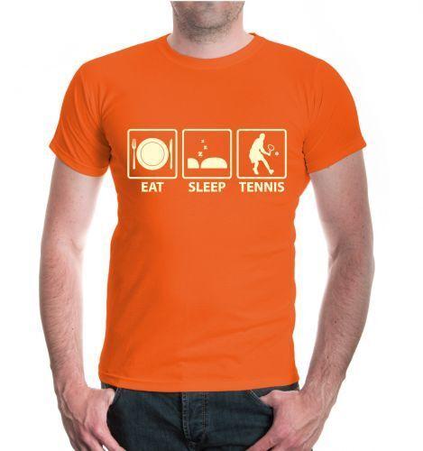 Herren Unisex Kurzarm T-Shirt Eat Sleep Tennis Fanshirt Trikot kaufen Sprüche