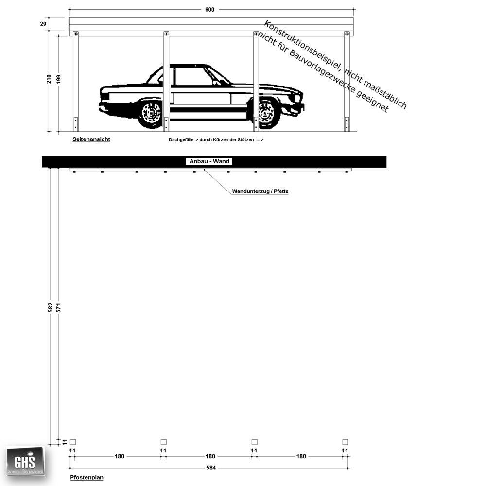 Anbau-Carport 6x6 m, Anlehncarport Grundkonstruktion mit Stützen 11x11 cm
