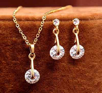 Jewelry & Watches Cooperative Goldfarbenes Set Kette Anhänger Ohrringe Rund Klare Kristalle Schmuck Set Invigorating Blood Circulation And Stopping Pains