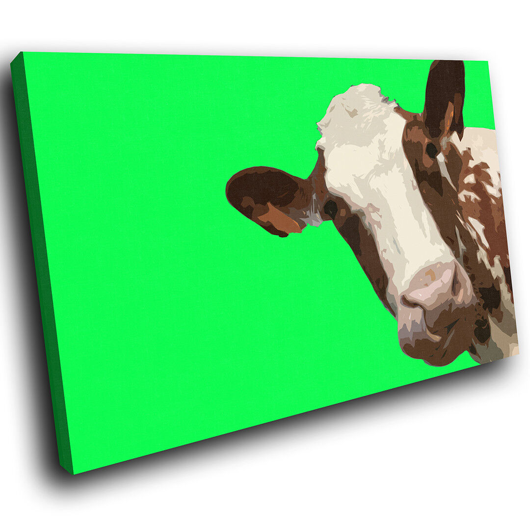 A005 Grün Abstract braun Cow Funky Animal Canvas Wall Art Large Picture Prints