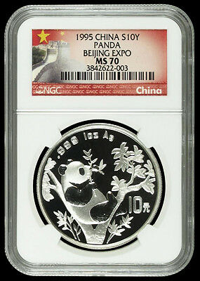 1995 Panda NGC MS70 Beijing Coin Expo China Silver 1oz 10 Yuan Chinese (Pop 10)