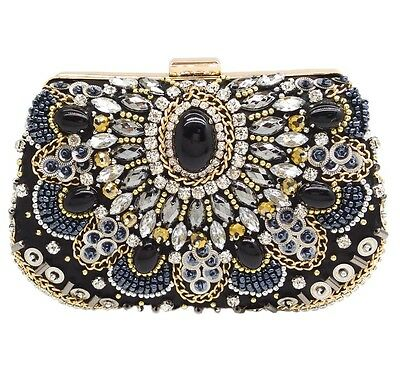 NEW LOOK LADIES STONE BEADED DIAMANTE DIAMONTE EVENING DIAMOND GOLD CLUTCH BAG
