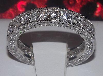 2.28 14k White Gold .925 Platinum Eternity Ring Wedding Band +stud earrings SZ 9