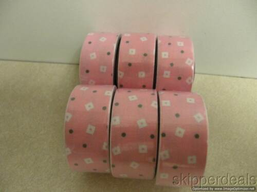 """6 ROLLS DUCK FABRIC PINK WHITE DECORATIVE CRAFTING TAPE EACH .75/""""X96/"""""""