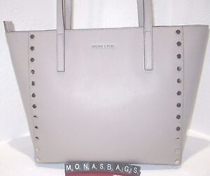 96677f92bbe7 Image is loading Michael-Kors-Cement-Leather-Stud-Silver-Studded-Large-