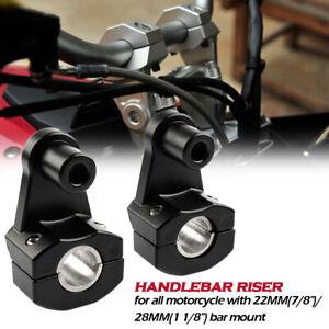 Universel-22mm-28mm-Noir-CNC-Moto-Guidon-Bar-Mont-Pince-Colonne-Montante-Riser