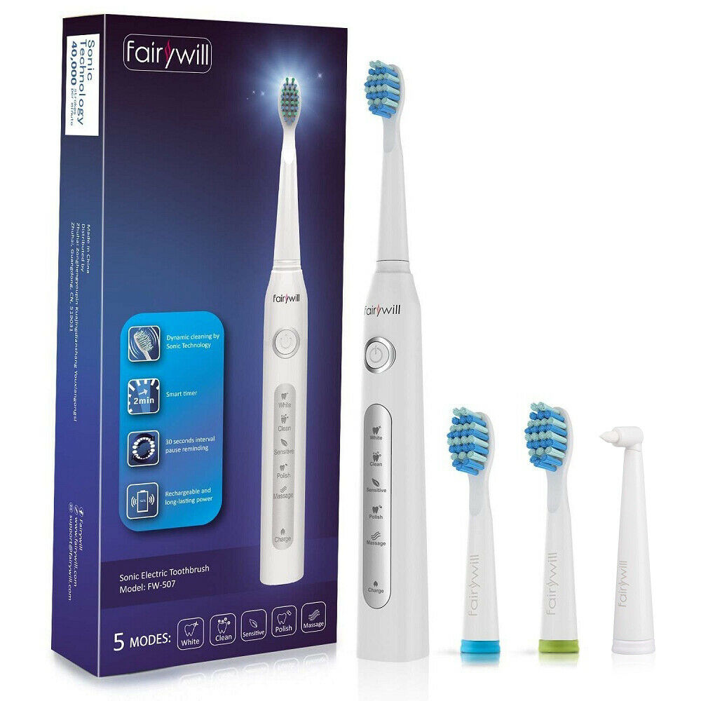 Fairywill Electric Toothbrush Sonic Rechargeable 5 Optional Modes 3 Brush Heads