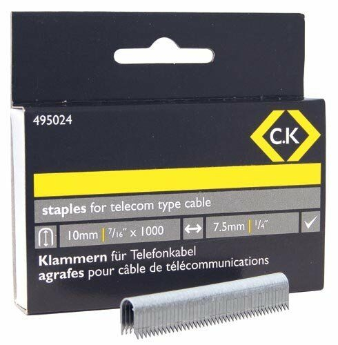 Silver Pack of 1000 C.K 495024 4.5 x 10 mm Telecom Cable Staples