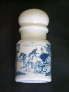 Joli pot de salle de bain vintage avec bouchon à décors bleu cobalt ...