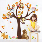 Owls Monkey Tree Wall Sticker Jungle Safari Animal Kids Decal Baby Nursery Decor