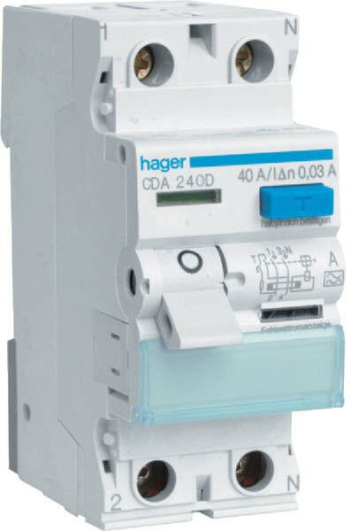 Hager CDA240D Fehlerstromschutzschalter 2 polig 40A 30mA | Sale Online Shop
