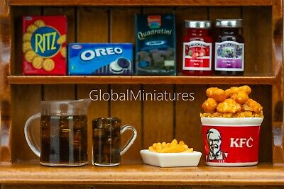 Dollhouse Miniatures Fried Chicken with French Fries and Coca Cola Drinks