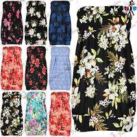 Ladies Womens Sheering Boobtube Gather Bandeau Top Mini Dress Plus Size UK 16-24