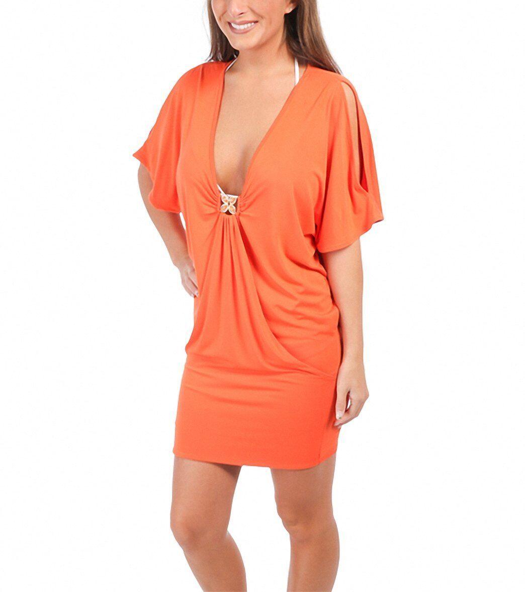 Trina Turk Tangerine orange Nomad Solid Tunic Jersey Dress Beach Swim Cover Sz S