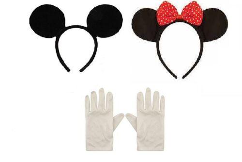 MINNIE MICKEY MOUSE EARS HEADBAND /& WHITE GLOVES FANCY DRESS HEN NIGHT PARTY