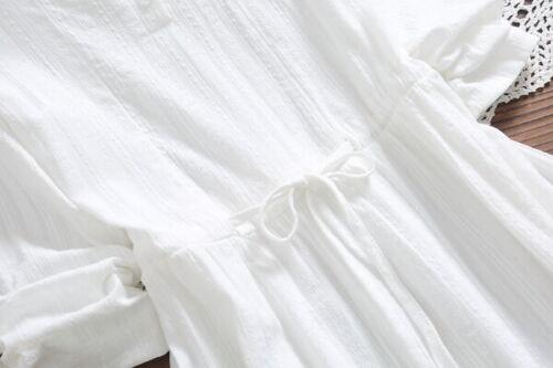 4984 Vestito Bianco Elegante Abito Maxi Amplio Romantico Morbido Scampanato 87wvqd