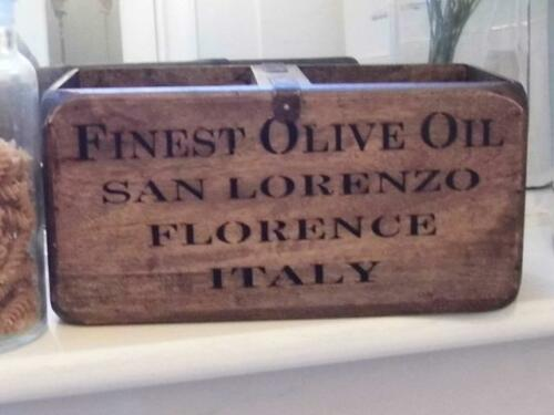 Caja de almacenamiento de madera estilo vintage mostrar Pecho Caja Aceite de Oliva Florencia Italia