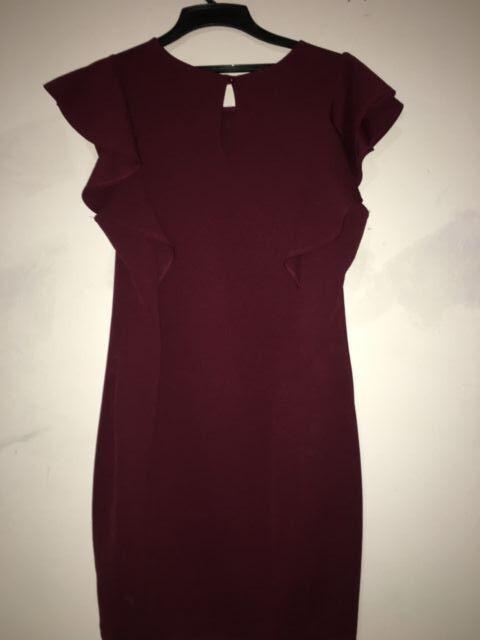 Maitai Burgundy Wine rot Ruffle Dress CtX314ID damen Größe 8