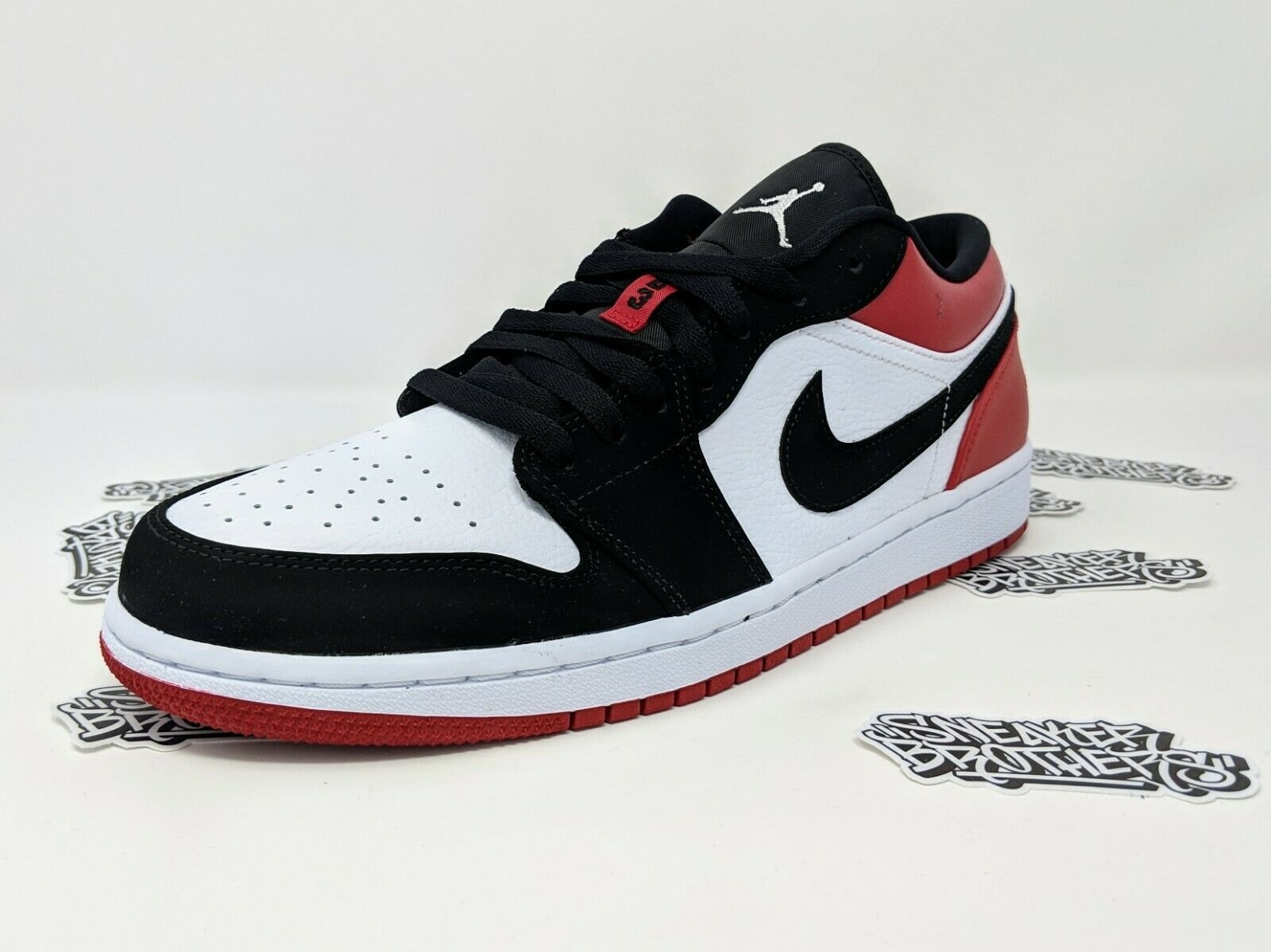 Nike Air Jordan Retro I 1 Low SB Black Toe White Gym Red Men's 553558-116