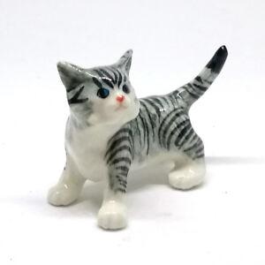 cat statue cat lover gift cat with fish ceramic cat figurine ceramic cat kitten figurine cat portrait custom Grey kitty figurine
