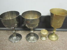 4 Cups, (2) raimond silverplate italy (engraved) (1) Brass Z.Y. India World Gift