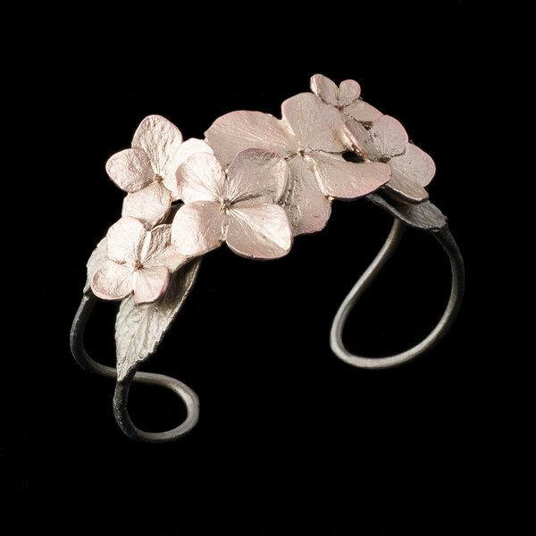 Hydrangea Cuff Bracelet - Michael Michaud - Silver Seasons Jewelry - Cast Bronze