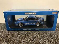 Porsche 911 Turbo 1:18 Auto Pro Shop mit 2.Verpackung Spoiler blau