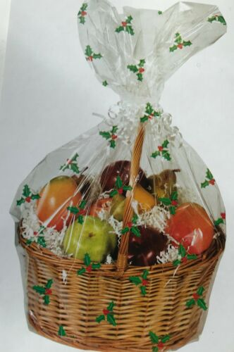 1 x CHRISTMAS HOLLY HAMPER BASKET Gift Cake CELLOPHANE DISPLAY BAG With Tie