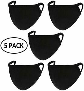 Face Mask 5 Pack 100 Cotton Black Washable Reusable Made From Usa Ebay