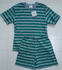 NWT HANNA ANDERSSON ORGANIC SHORT JOHNS PAJAMAS BLUE GREEN STRIPE MENS S WOMEN M