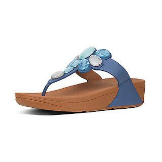 FitFlop Honeybee Jewelled Leather Toe-Post Sandals RRP £75! Indian Blue