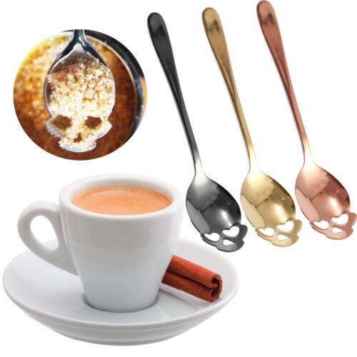 Crâne En Acier Inoxydable Café mélange boisson cuillère Vaisselle Cuisine Cuillère à café