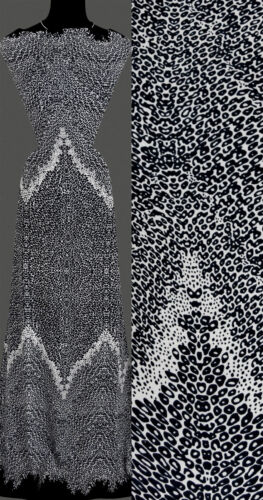 9,40 €// m 50cm de punto elástico lunares de zigzag manchado negro