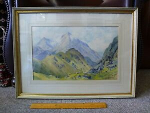 Welsh-Art-Watercolour-Painting-signed-MAURICE-KENT-Crib-Goch-North-Wales-Snowdon
