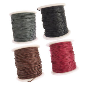 8 Rolls 80m Waxed Cotton Cord String Rope Jewelry Making Accessories 1mm