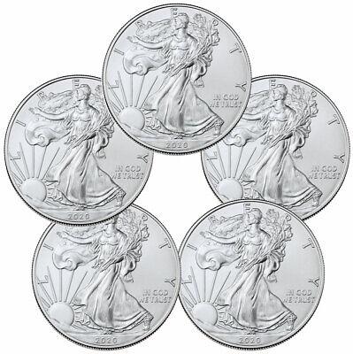 Lot of 5-2020 1 oz American Silver Eagle $1 Coins GEM BU DELAY SKU59438