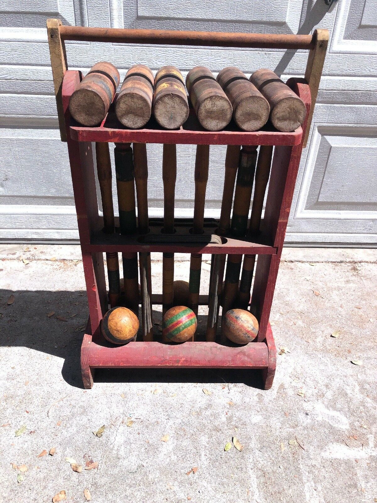 VINTAGE ANTIQUE 6 PERSON CROQUET SET  w Stand SKOWHEGAN LINE by THOMPSON Co MAINE  the latest