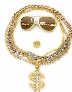 Babo-Lude-Macho-Prolethen-HipHop-Rapper-5-teilig-Ketten-Brille-Ring