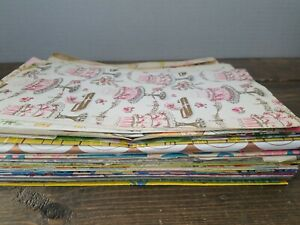 Vintage-Gift-Wrap-Lot-1950s-80s-Assorted-Occasions-Full-amp-Partial-Sheets