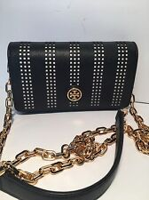 New Tory Burch Robinson Perforated  Mini  Bag / Black Leather