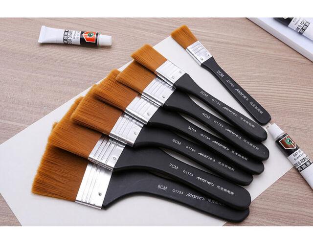 marie s 7pcs nylon flat hair artists painting brush watercolor oil