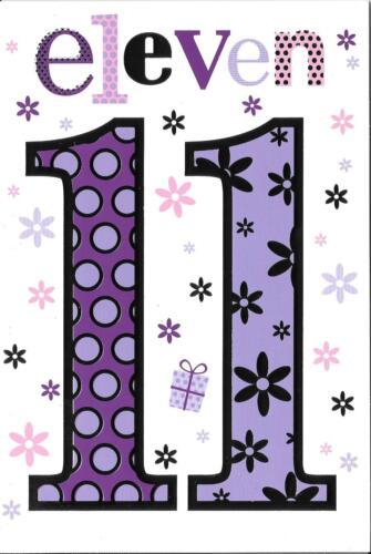 rose argent 11 ans-lilas Plain /& Simple Filles 11th Carte d/'anniversaire