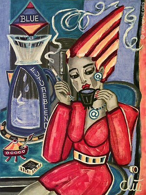 JACQUELINE DITT - Blue Future Blend A4 DRUCK n.Gemälde Bilder Kaffee